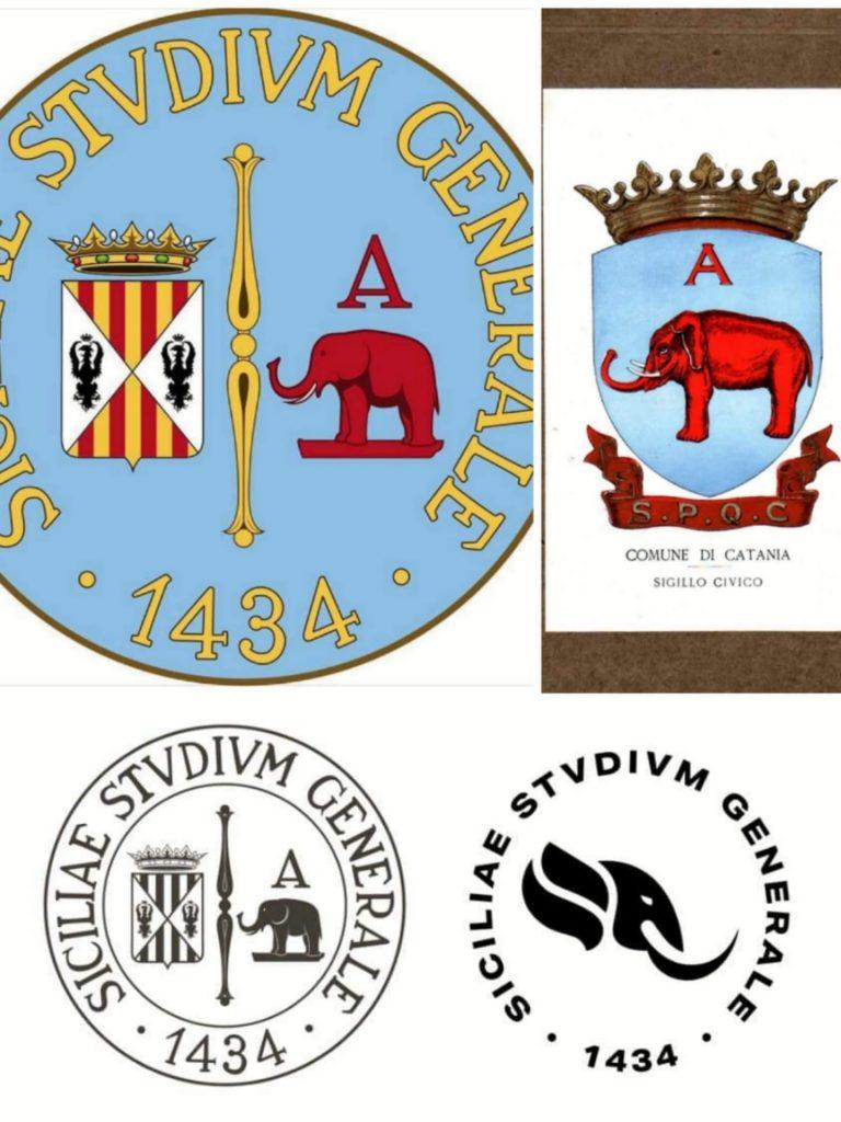 logo storico e nuovo logo messi a confronto; figurano anche lo stemma civico catanese e l'elaborazione del sigillo storico in bianco e nero del 2014.