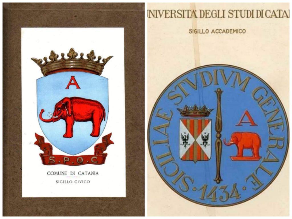 Lo stemma civico catanese e il sigillo di Unict realizzato nel 1934 dalla professoressa Carmelina Naselli.