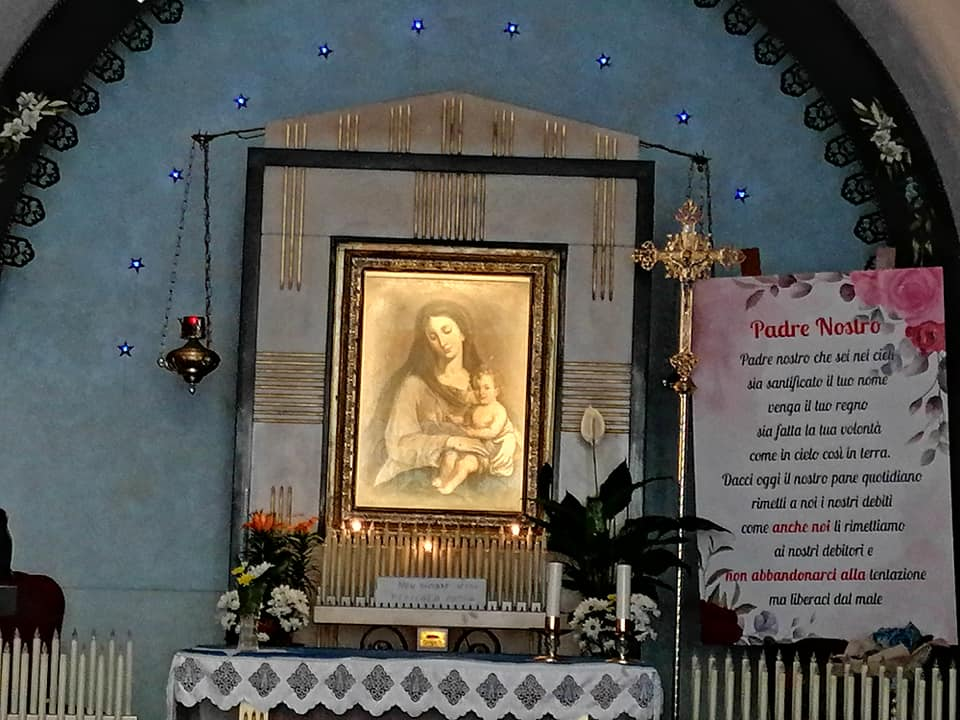 Il quadro di Santa Maria delle Grazie venerato dai catanesi il 2luglio con messe, dono di fiori e ceri, canti e con la processione delle vie vicine