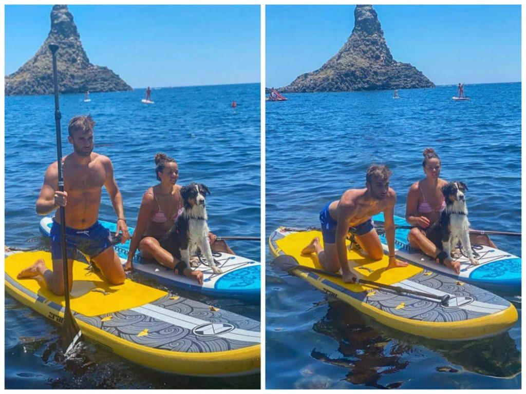 Daniele Garozzo è fidanzato con la collega Alice Volpi che porta spesso in Sicilia. qui li vediamo fra i faraglioni di Acitrezza assieme al loro cane Forrest.