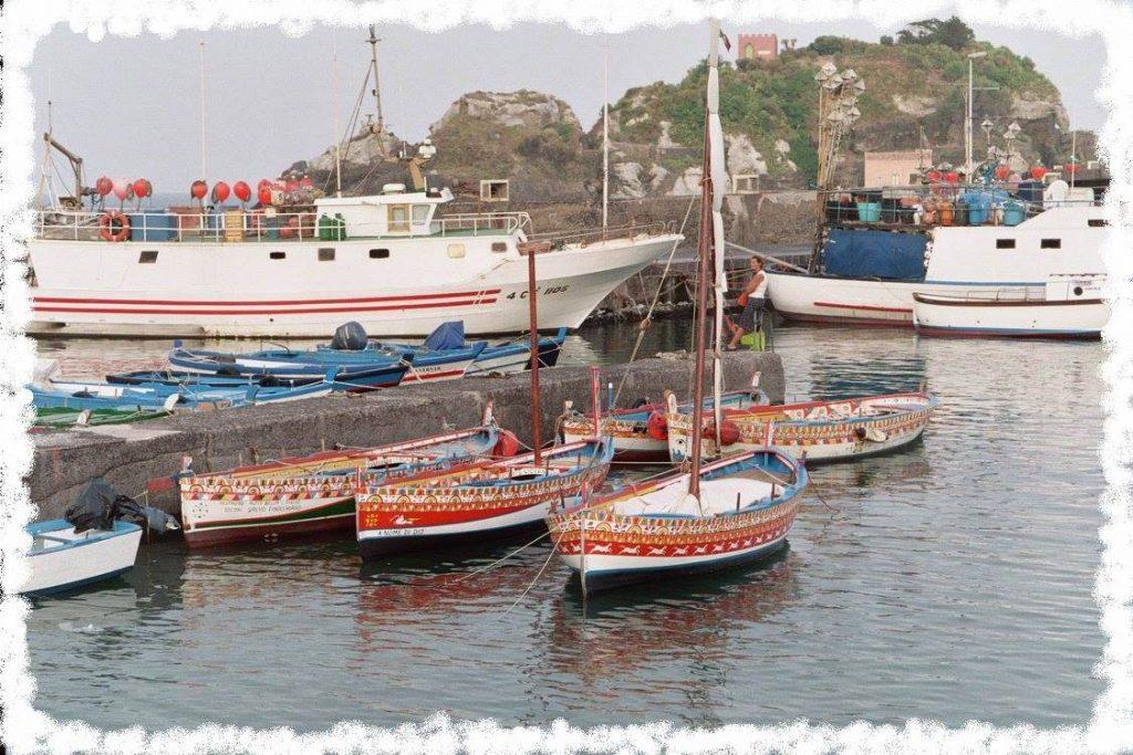 alcune delle tipiche imbarcazioni nel porto di Acitrezza, dipinte da Salvo Finocchiaro