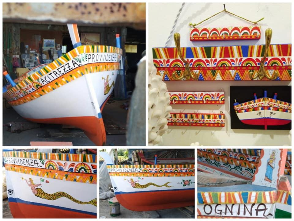 """alcune delle imbarcazioni tipiche di Catania e provincia decorate da Salvo Finocchiaro il """"pingisanto"""" di Acitrezza"""