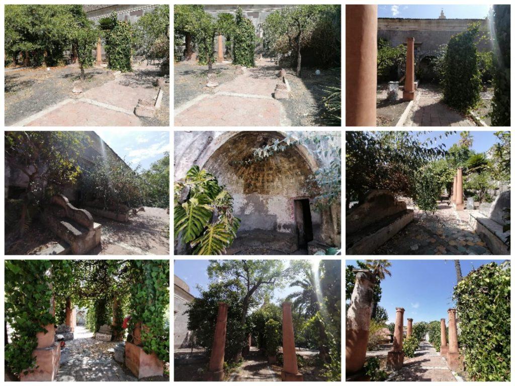 Il giardino pensile , per bellezza es particolarità della struttura si accosta ai due chiostri