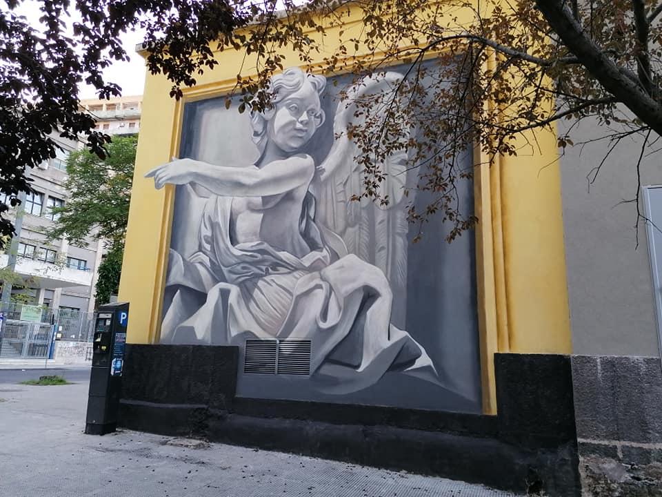 Dettagli del nuovo murales si Antonio Anc realizzato davanti al liceo Turrisi Colonna di Catania.