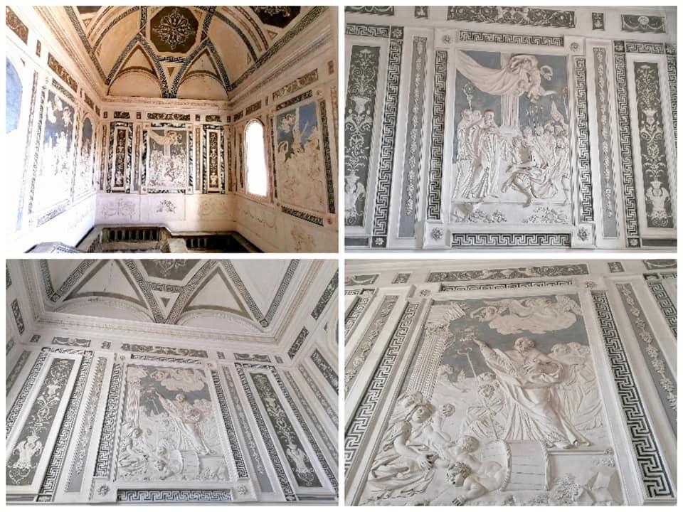I pregevoli stucchi raffiguranti la vita dei santi benedettini che ornano lo scalone monumentale del monastero dei Benedettini