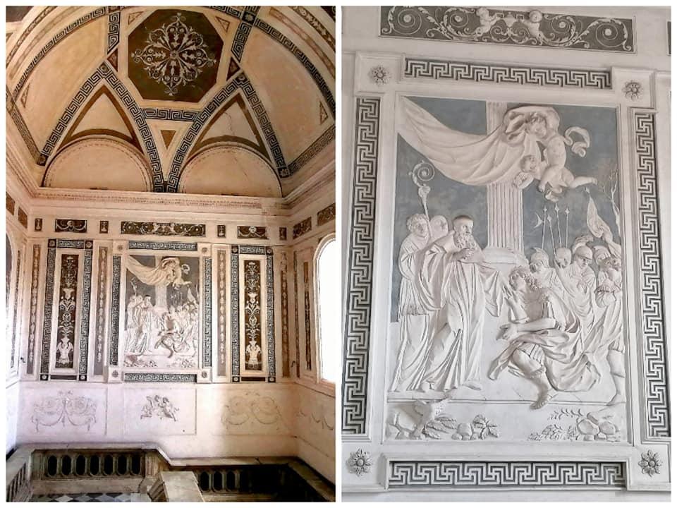 Gli stucchi del pannello centrale che raffigurano le storie di San Benedetto nello scalone monumentale