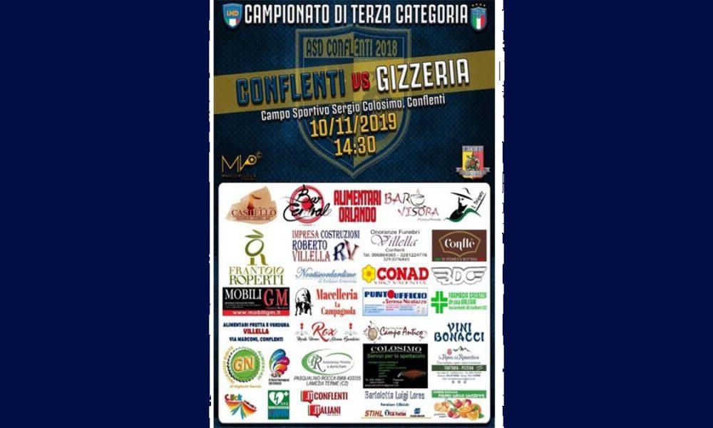 Locandina Partita asd conflenti vs atlhetic gizzeria