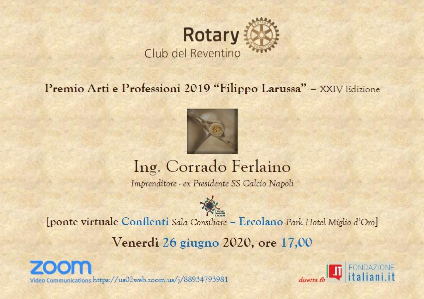 Corrado Ferlaino: Locandina Premiazione