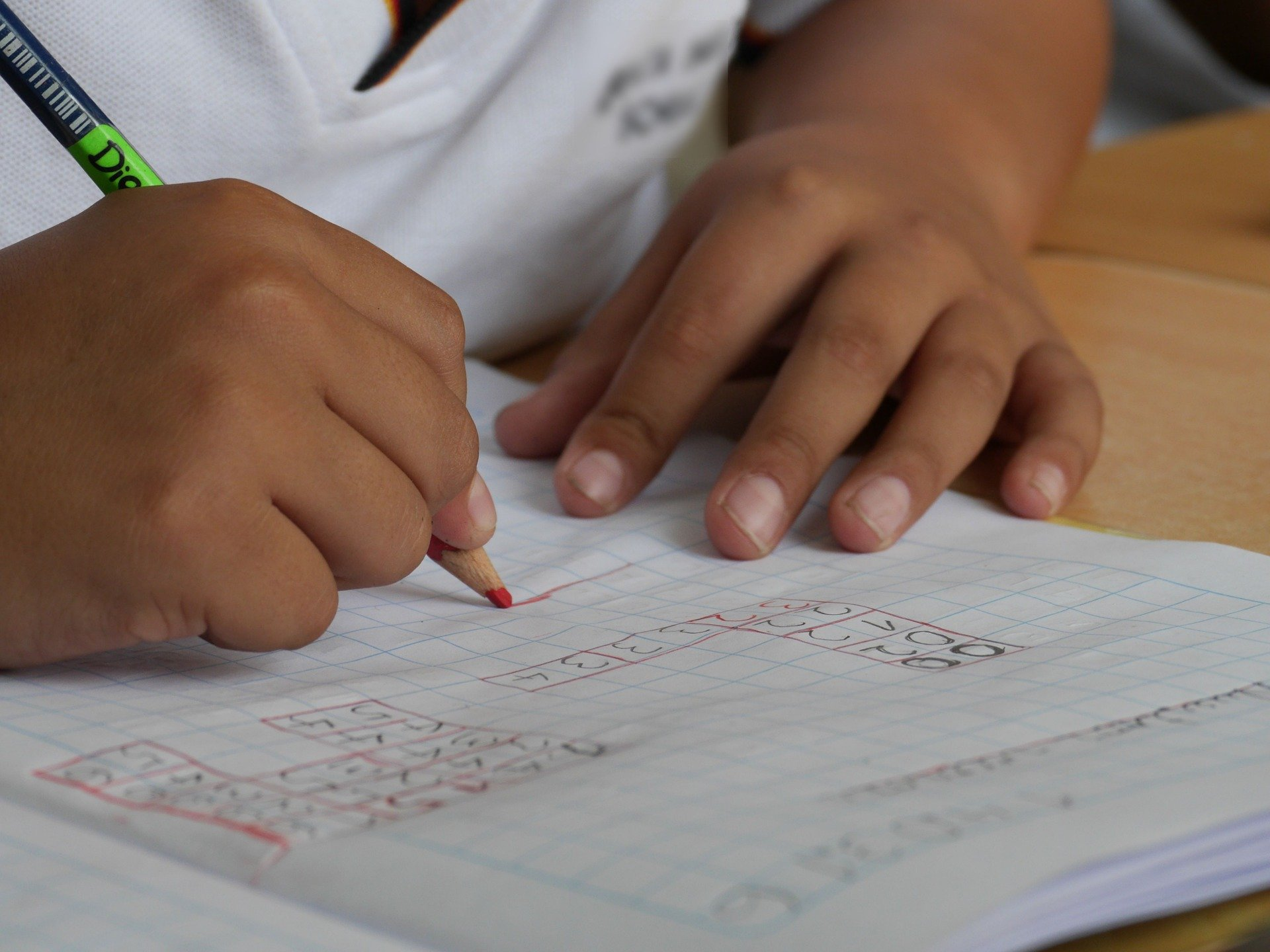 Bambino Che Scrive Su Un Quaderno