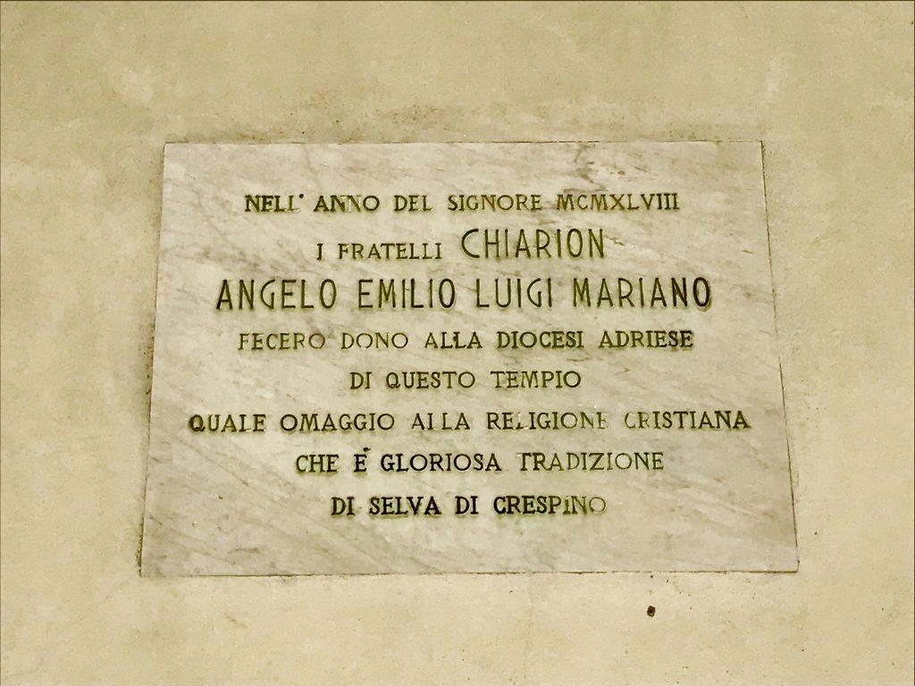 insegna marmorea- Chiesa di Selva di Crespino