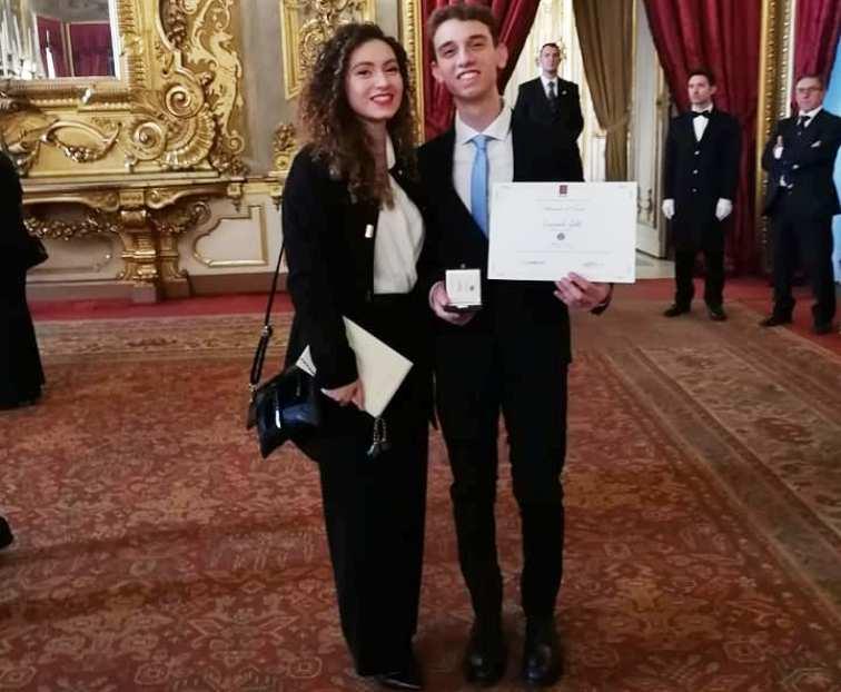Gianpaolo insieme alla sorella Maria Nivea durante la premiazione al Quirinale