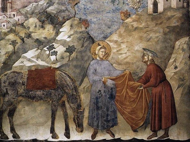 San Francesco Dona Mantello Povero Giotto
