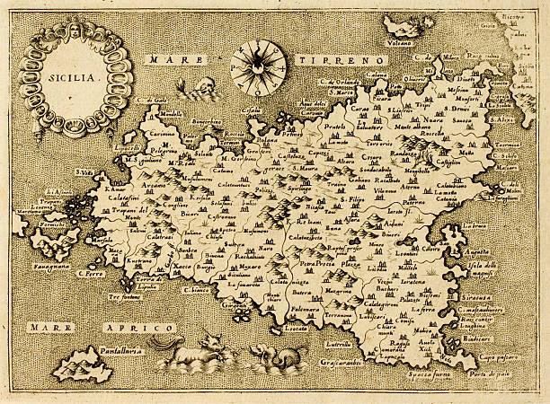 Storia della lingua siciliana. Antica cartina della Sicilia.