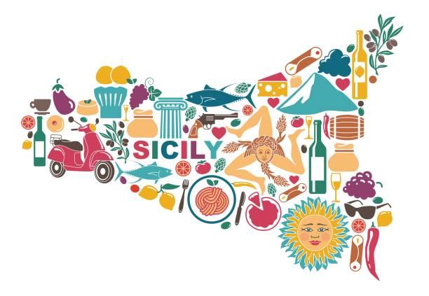 La lingua siciliana - una stampa colorata della sicilia