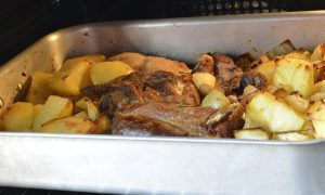 Goats Cooked With Potatoes