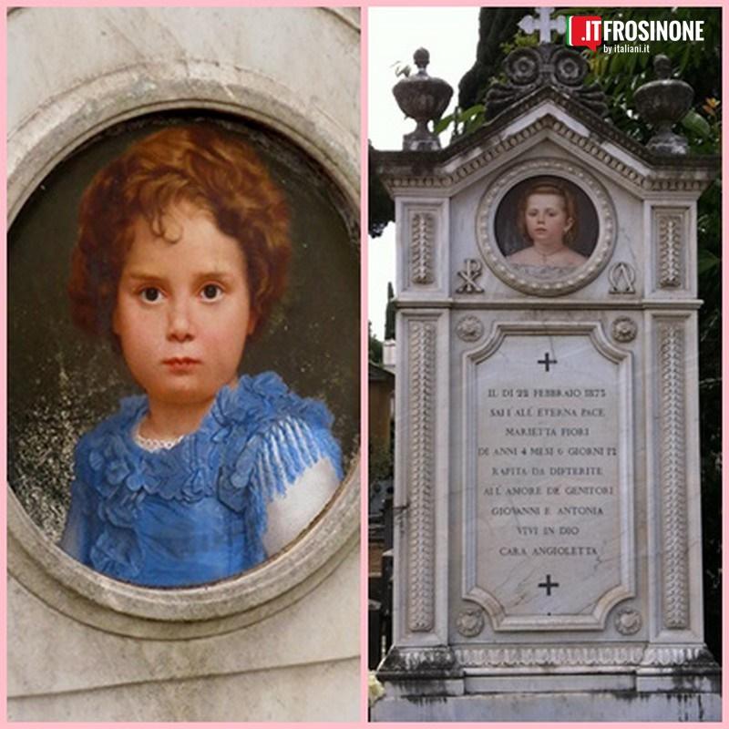 La bambina prima entrata nel cimitero di Frosinone