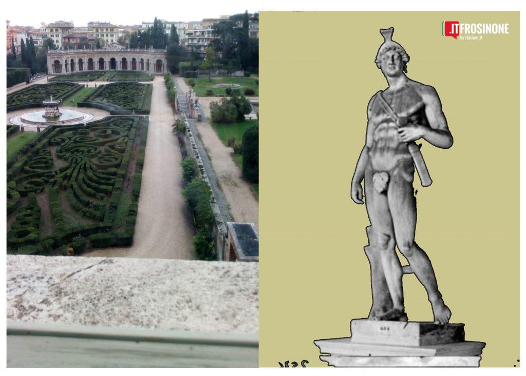 La statua del dio marte rinvenuta a Frosinone-collage
