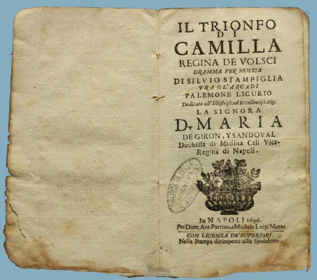 camilla regina dei volsci - antico testo musicale