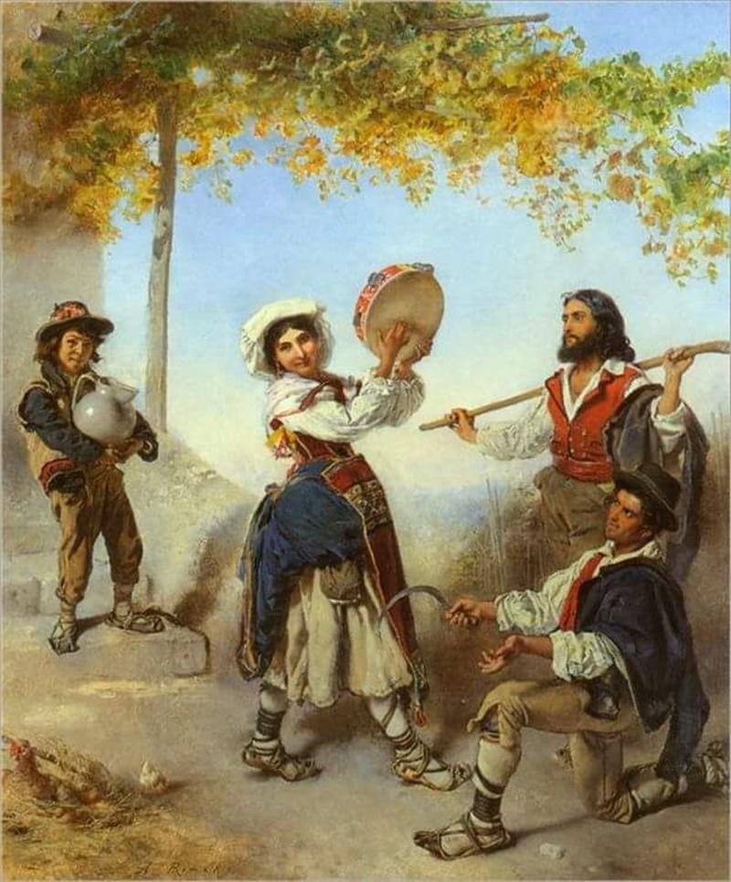 Costume Ciociaro- bella ciociara che suona il tamburello