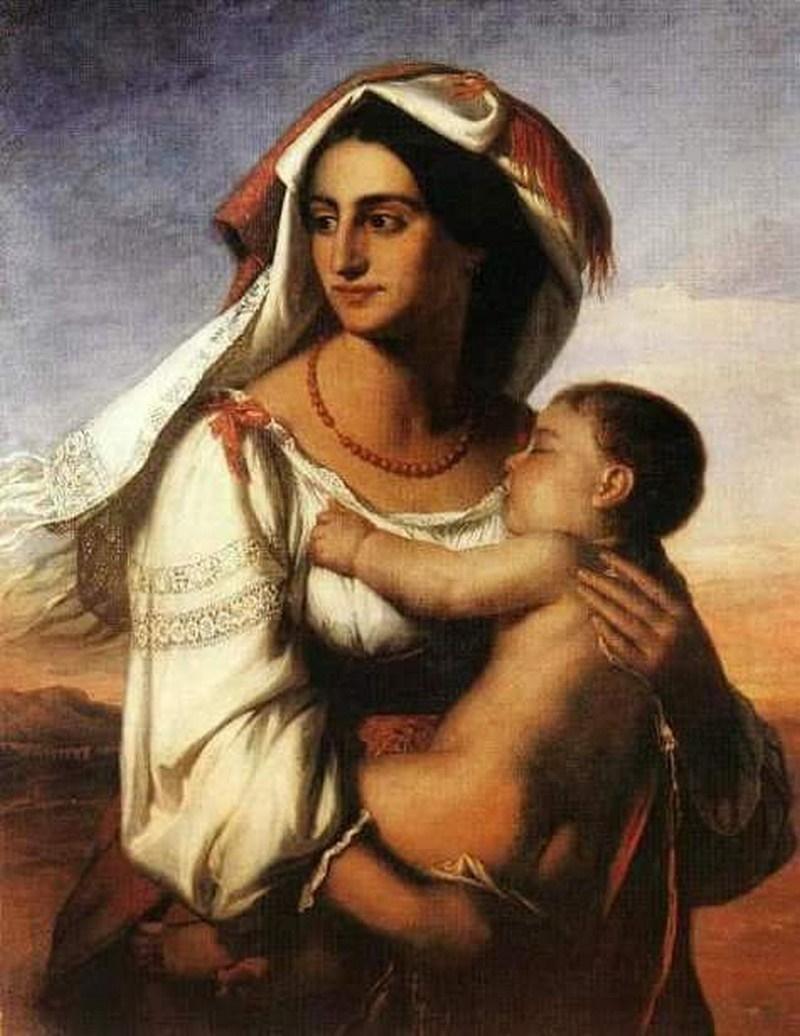 Costume Ciociaro - ciociara con infante in braccio