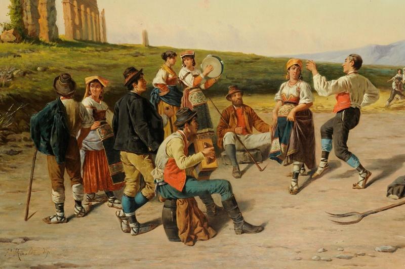 San Valentino In Ciociaria - dipinto raffigurante ciociari danzanti