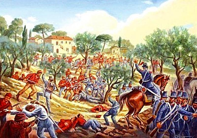 risorgimento ciociaro - dipinto di scontro bellico con Garibaldini