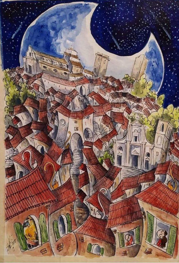 Il disegnatore di lune - Centro Storico  con tetti rossi