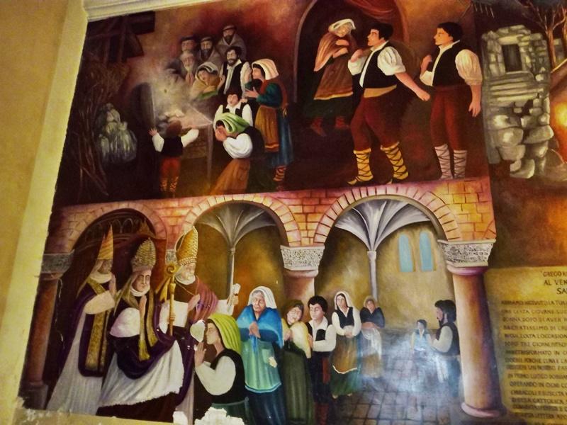L'ostia incarnata di Alatri - affreschi con Fumetti descrittivi