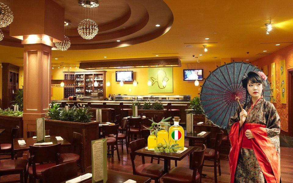 miglior olio italiano - un Ristorante Giapponese con ragazza in costume tipico