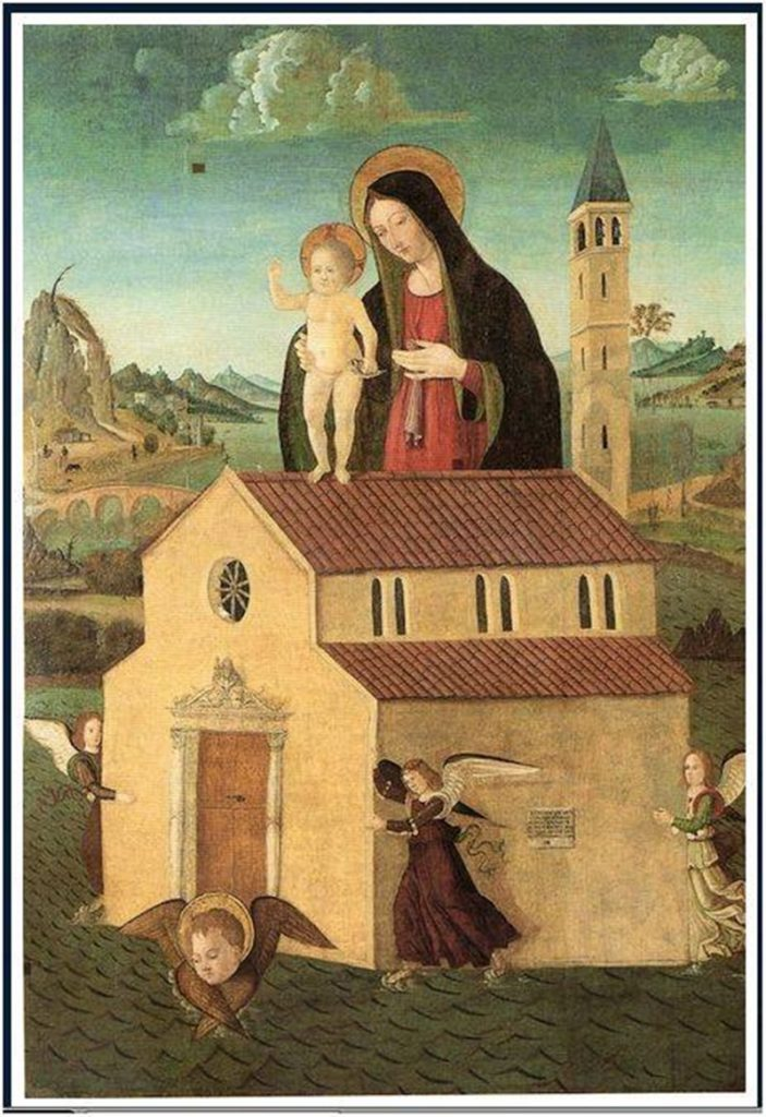 Pellegrinaggio a Loreto- Casa Sollevata dagli angeli nell'affresco