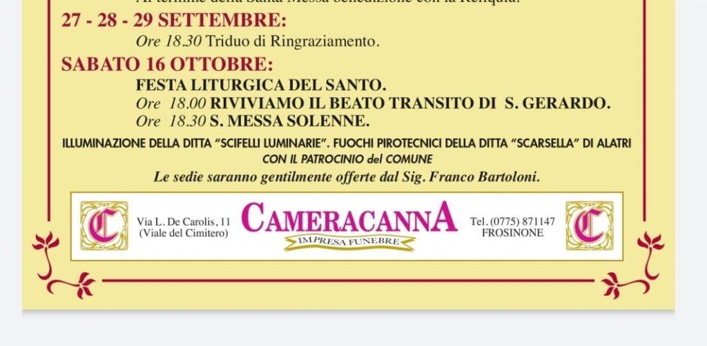 Il fazzoletto di San Gerardo - locandina dei prossimi eventi - Locandina per le celebrazioni