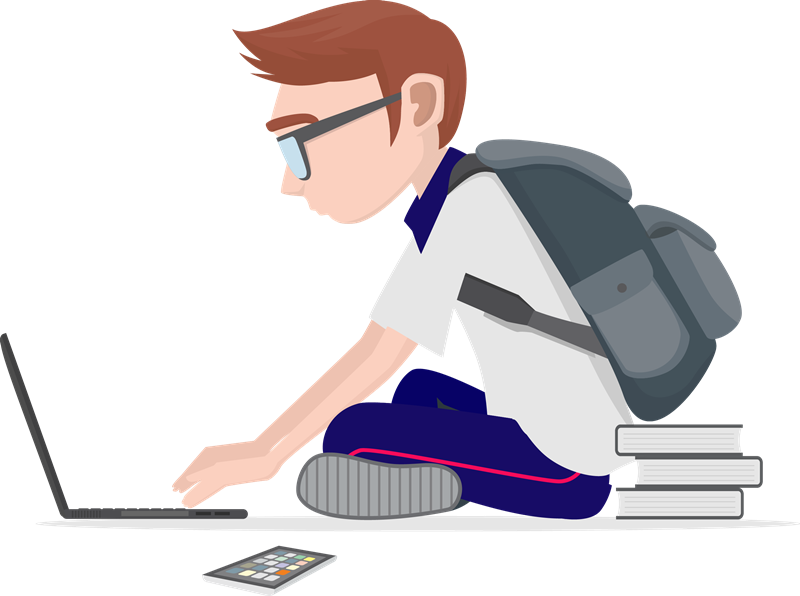 Borse di studio e premi - Ragazzo Con Zaino che lavora al computer