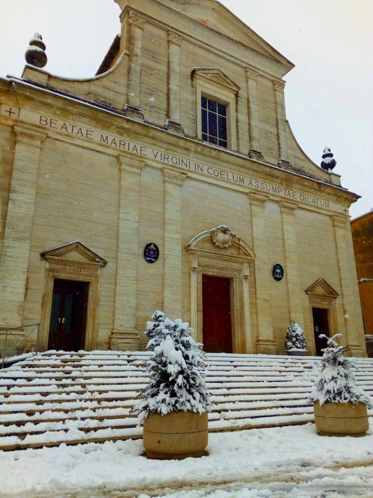 il campanile di Frosinone  - la cattedrale innevata