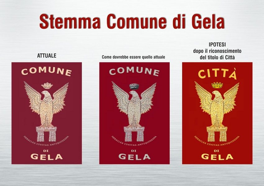Diverse versioni dello stemma di Gela