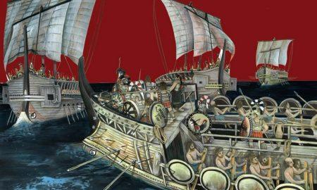 Le tre Navi Greche Di Gela - illustrazione di navi greche