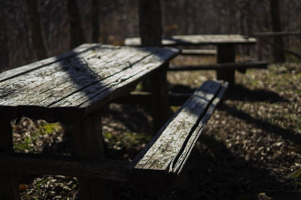 Parco Avventura alcuni tavoli in legno