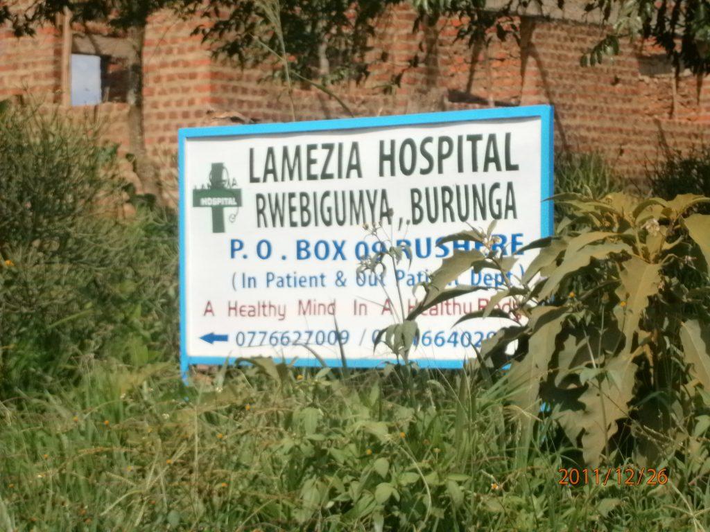 """Insegna ospedale """"Lamezia"""" in Uganda"""