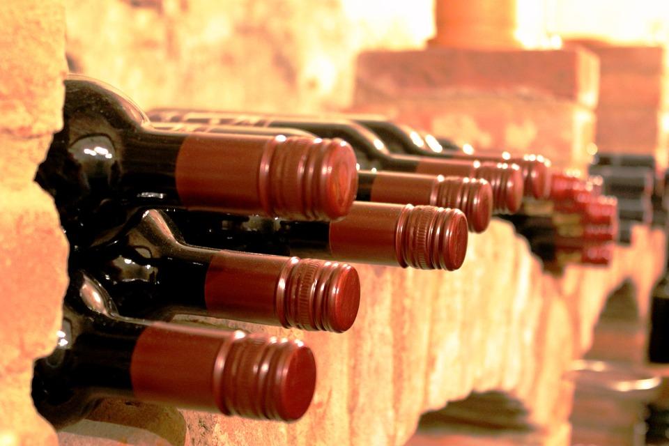 Vino Nuovo in tante Bottiglie allineate in una cantina