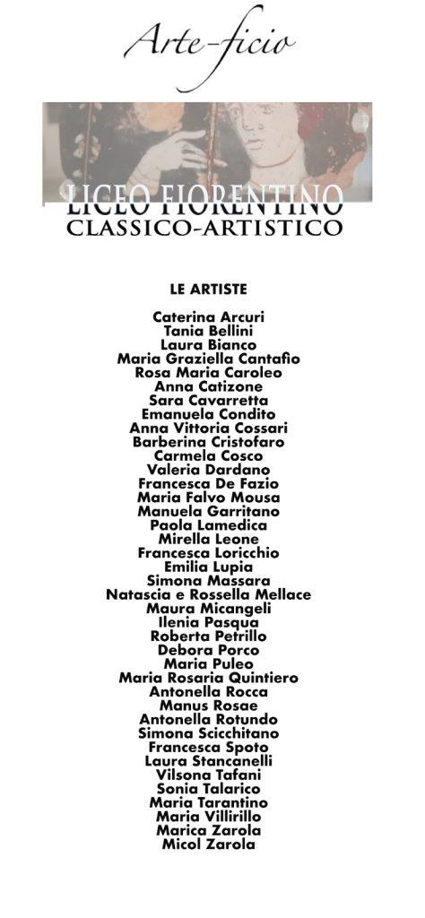 Locandina Con I Nomi Delle Artiste Parteipanti
