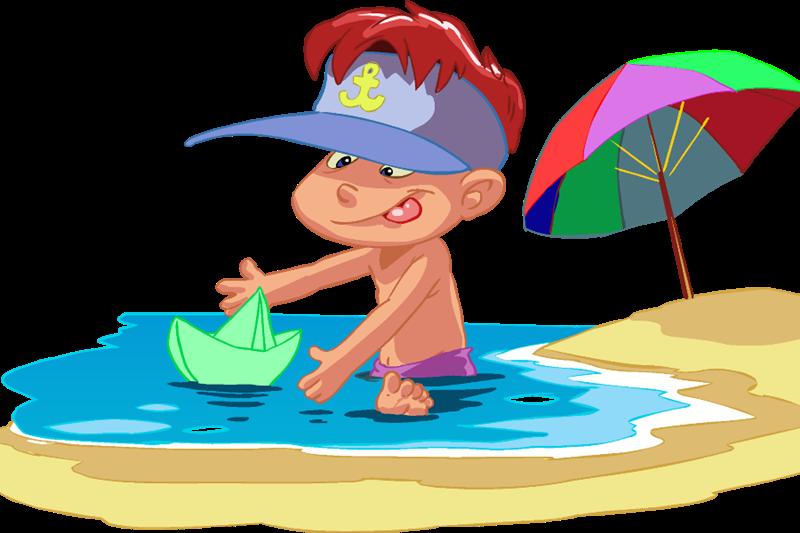Centri estivi per minori - Bambino Con Barchetta Di Carta in riva la mare