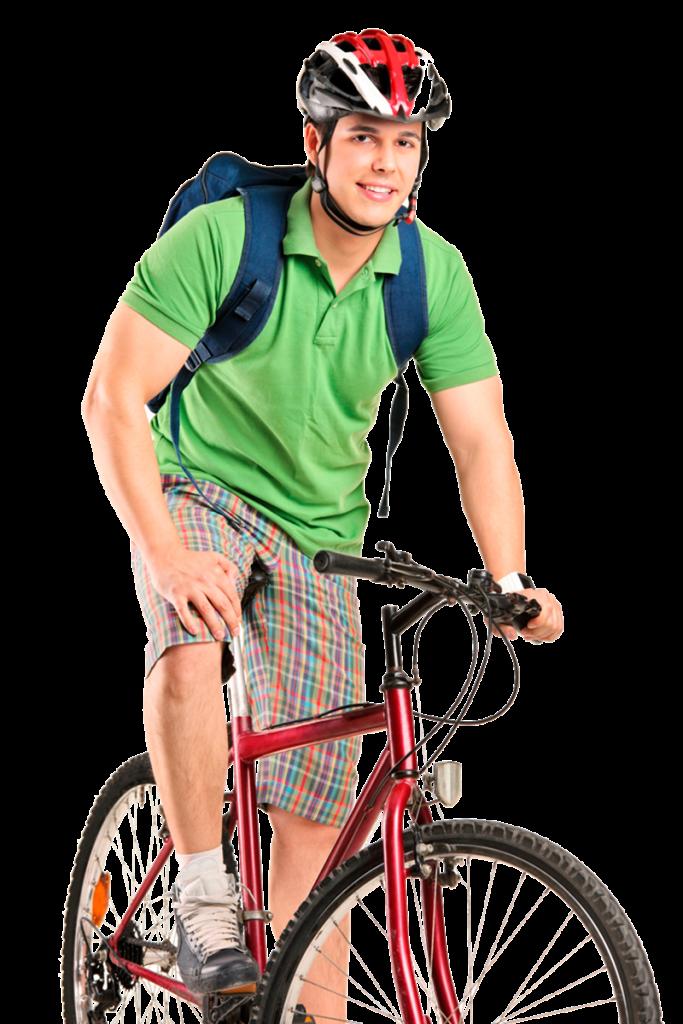 Biciclette e monopattini - Ragazzo In Bici Con Zaino e caschetto