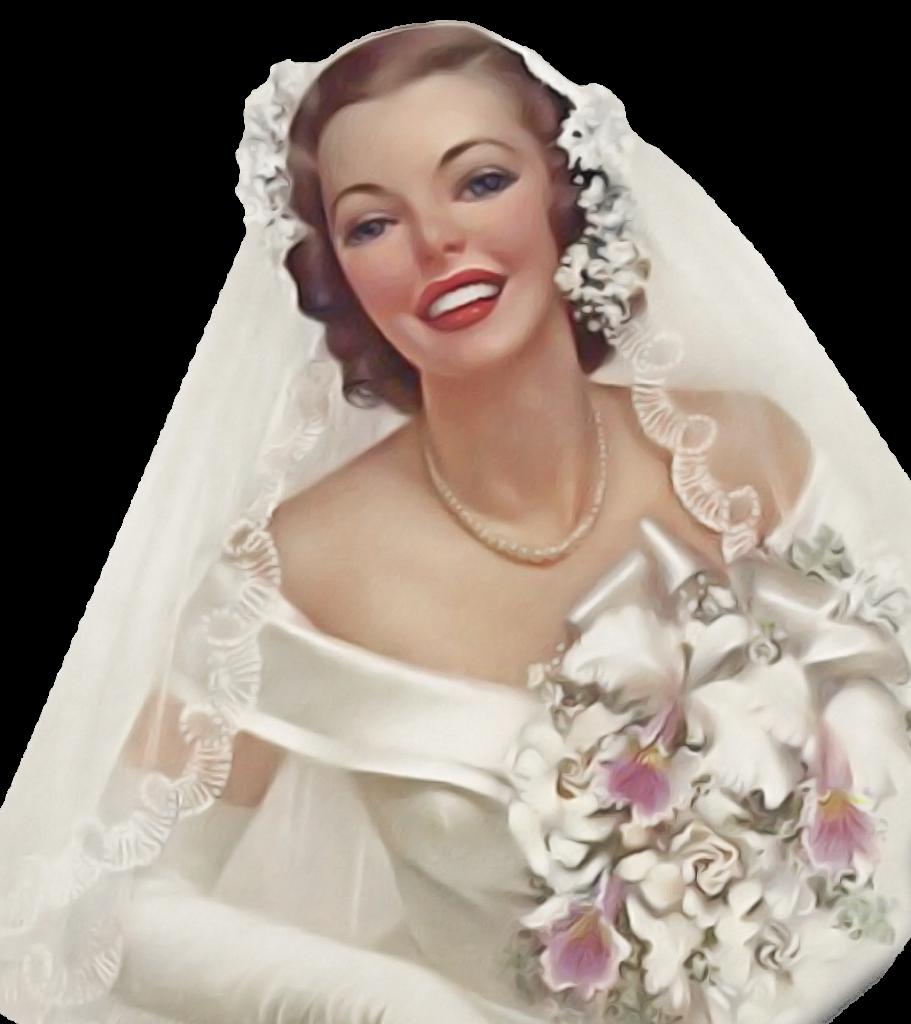Mario Riva - Donna In Abito Bianco anni cinquanta