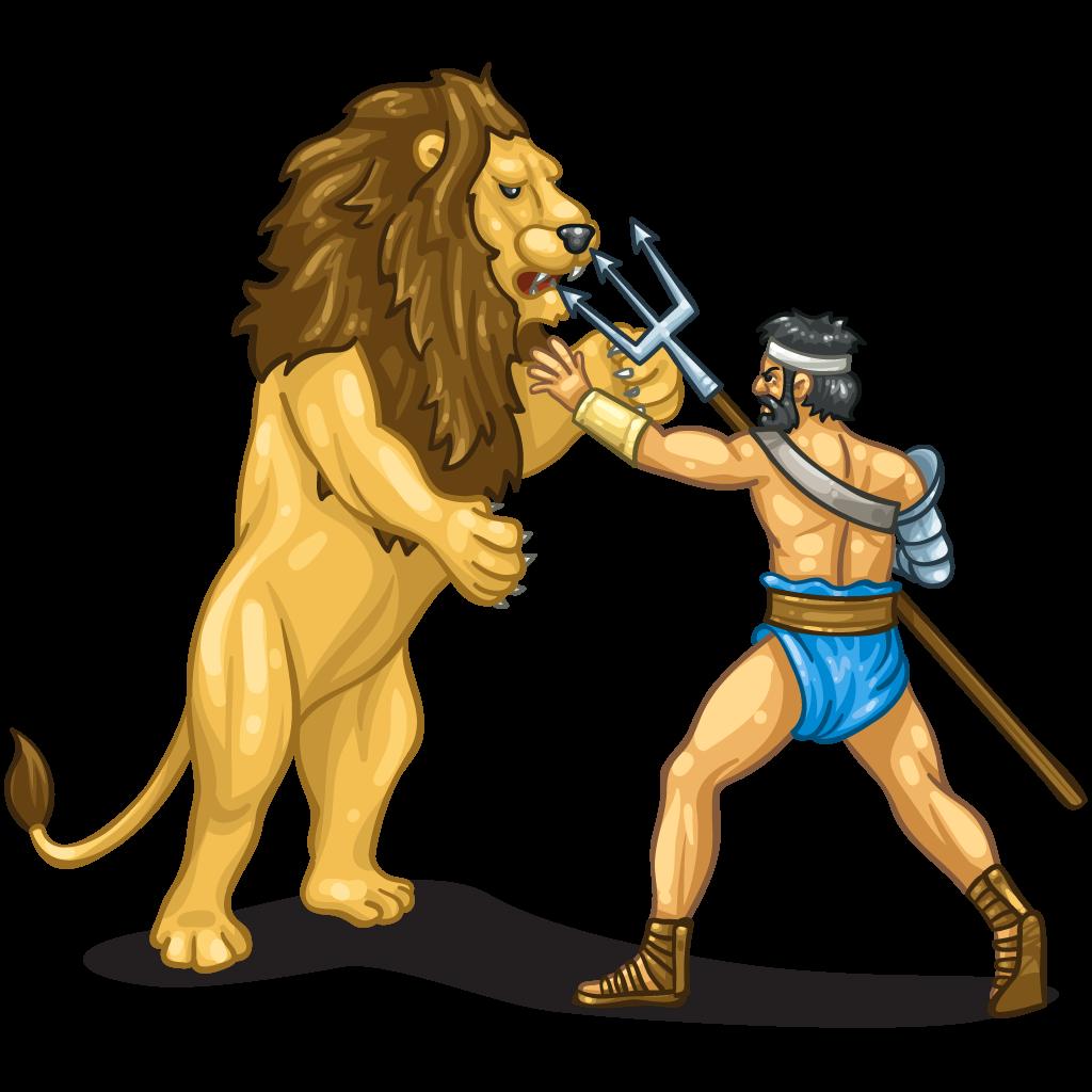Anfiteatro romano a Fondi - Gladiatore che affronta un leone
