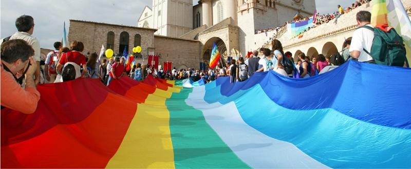 Marcia per la Pace Perugia-Assisi - Bandiera Alcobaleno di grandi dimensioni
