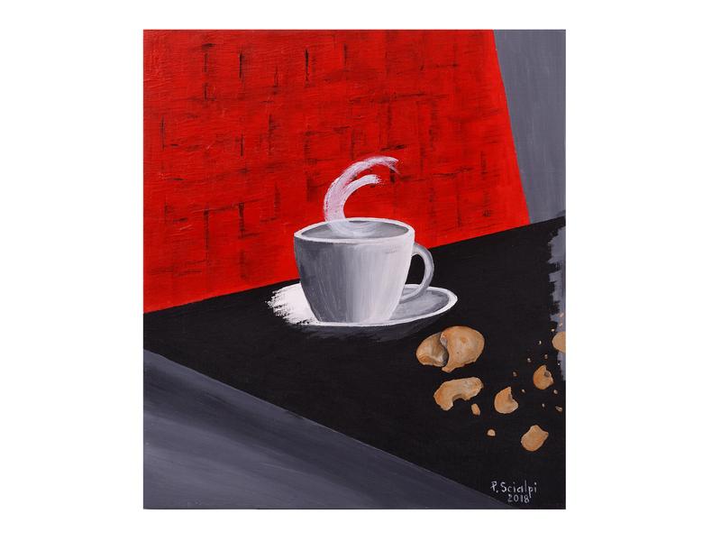 Tazza di caffè sul tavolo dipinta da Paola Scialpi