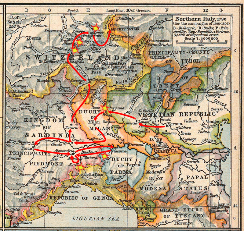 Mappa della campagna di Suvorov in Italia e Svizzera nel 1799