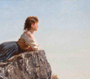 Fanciulla Sulla Roccia Di Sorrento Di Filippo Palizzi Da Facebook La Collezione Di Balzan Tra Ottocento E Novecento