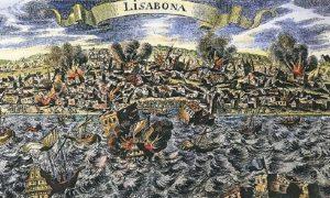 Terremoto di Lisbona - un disegno raffigurante i disastri del sisma