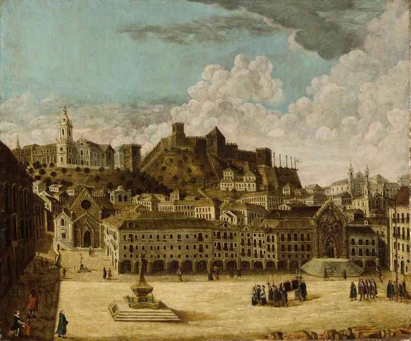Vecchio disegno della piazza del Rossio