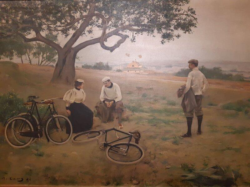 """""""Descanso de los Ciclistas"""", di Ramón Casas, dipinto del 1896"""